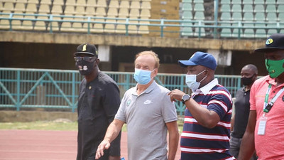 Super Eagles boss Gernot Rohr inspects Teslim Balogun Stadium ahead of AFCON 2021 qualifier in March
