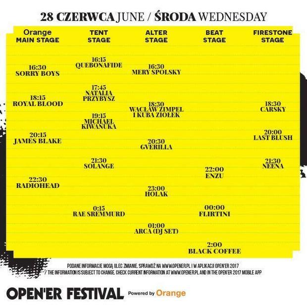 Open'er Festival 2017: rozpiska godzinowa na środę, 28 czerwca