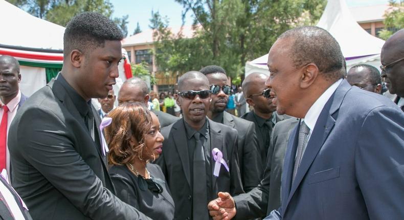 Marco Laboso with President Uhuru Kenyatta during the funeral of the Late Joyce Laboso