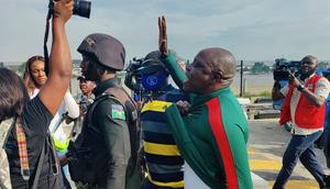 An #EndSARS protester arrested in Lagos on October 20, 2021