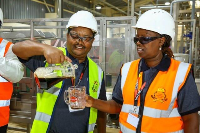 KBL Supply Chain Director Patrick Kamugi with KBL Managing Director Jane Karuku. (Capital FM)