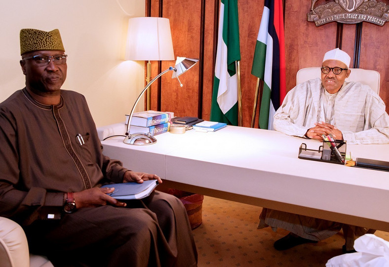 President Muhammadu Buhari with Secretary to Government of the Federation Mr Boss Mustapha