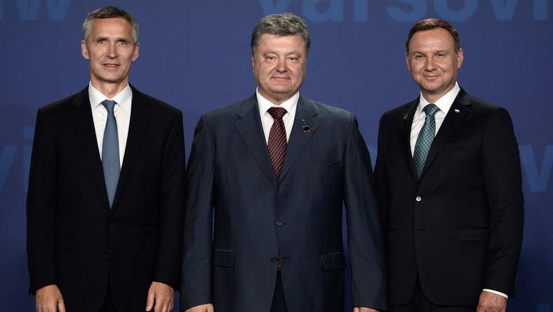 Jens Stoltenberg, Petro Poroszenko i Andrzej Duda