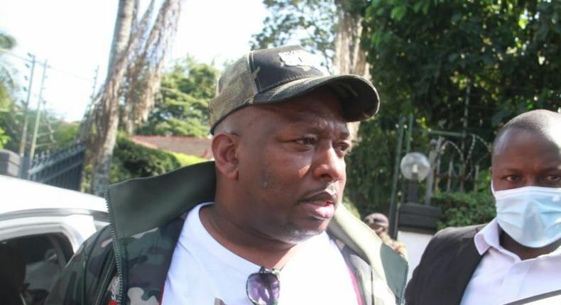 Nairobi Governor Mike Sonko after police disrupted his press conference at Lavington, Nairobi