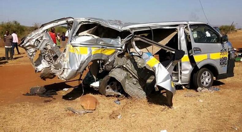 14-seater matatu mangled after crash with lorry (Capital FM)