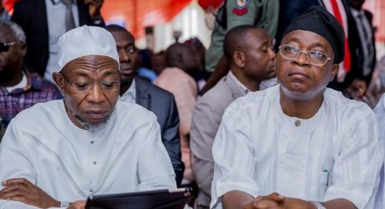 Governor Adegboyega Oyetola of Osun state and his predecessor and Minister of Interior, Rauf Aregbesola.