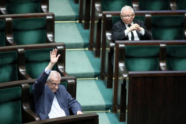Prezes PiS Jarosław Kaczyński oraz wicemarszałek Sejmu Ryszard Terlecki