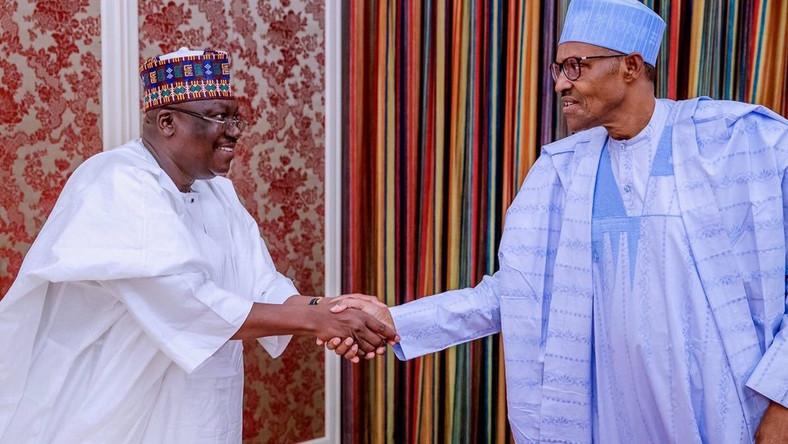 President of the Senate Ahmad Lawan met with President Muhammadu Buhari in his office, at the Presidential Villa, Abuja. Abuja. [Twitter/@SPNigeria