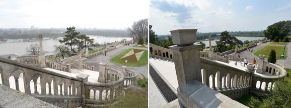 Kamene žardinjere krasile su prvobitno stepenište, ali u prethodnoj rekonstrukciji su zaboravljene