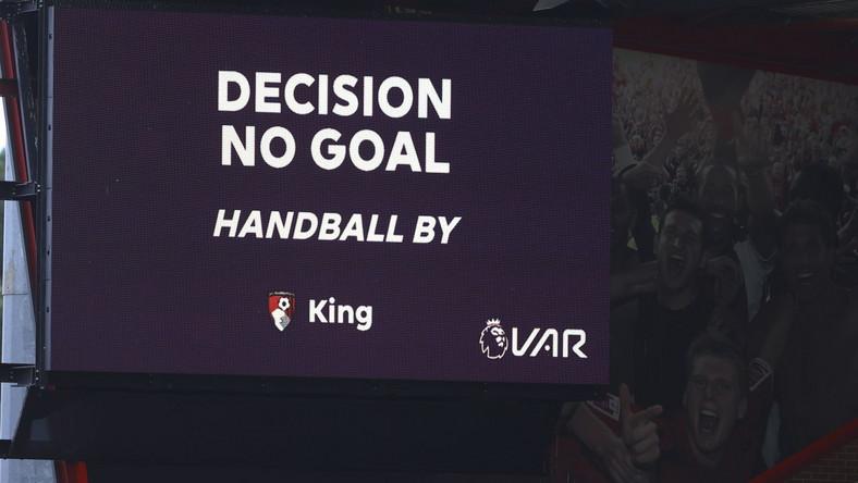 Jedna z decyzji asystentów VAR w meczu Bournemouth - Tottenham