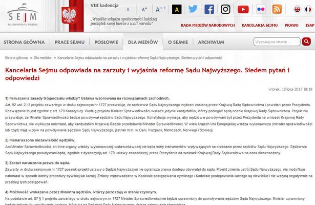 Publikacja na stronie internetowej Kancelarii Sejmu