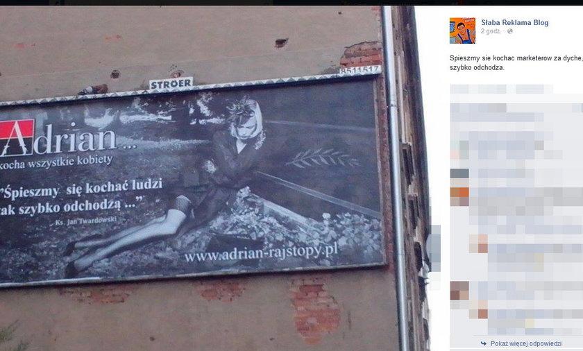 Reklamują rajstopy trumną i ks. Twardowskim