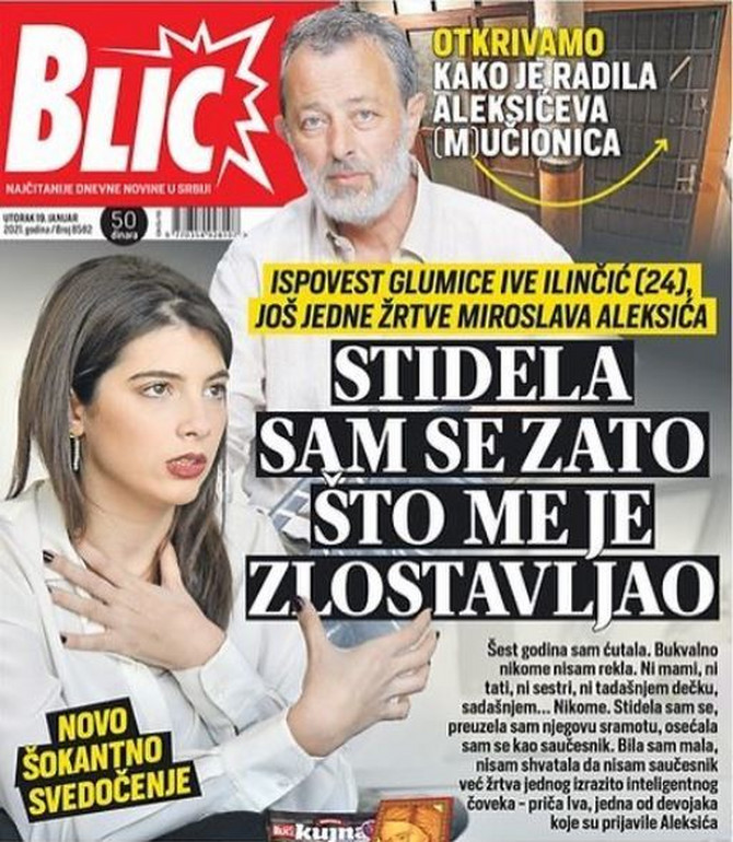 Iva Ilinčić optužila je Aleksića za seksualno uznemiravanje