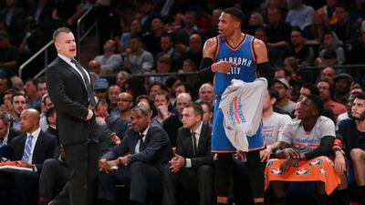 Westbrook in a hurry as Thunder down Knicks