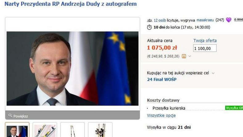 Narty prezydenta Andrzeja Dudy na aukcji