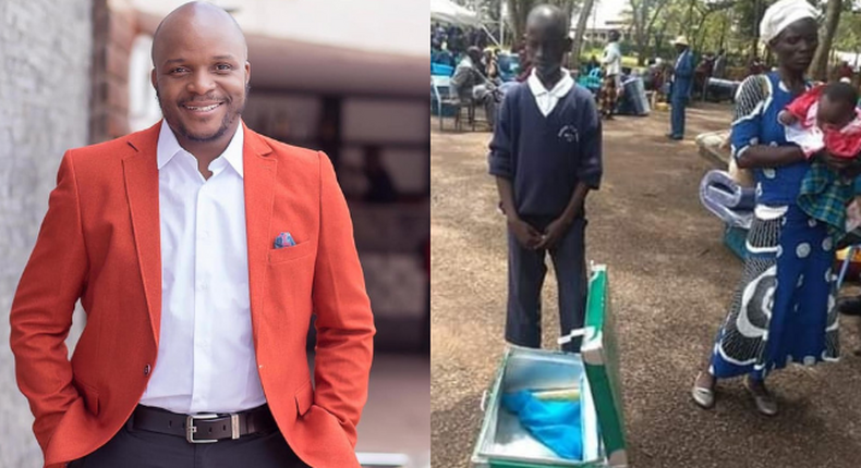 Jalang'o comes to the rescue of form one student who reported to school with an empty metal Box (Photos)