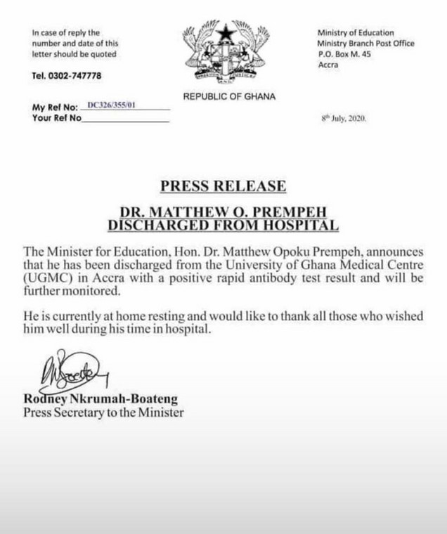 Dr. Opoku Prempeh's statement