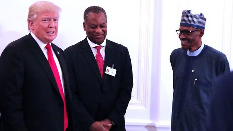 President Muhammadu Buhari (right) with US President, Donald Trump (left) with Minister for Foreign Affairs, Geoffrey Onyeama (middle)