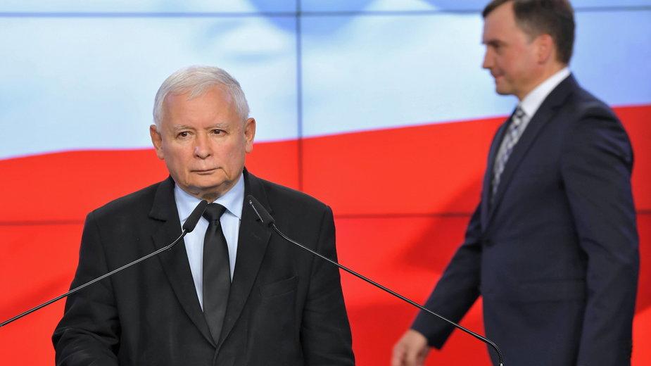 (od lewej) Jarosław Kaczyński i Zbigniew Ziobro. 26.09.2020 r.