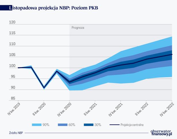 Listopadowa projekcja NBP, Poziom PKB