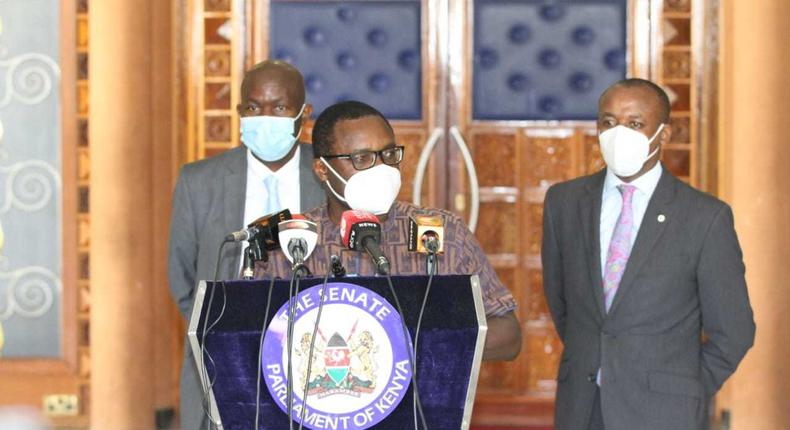 Senate Speaker Ken Lusaka addresses the media after receiving a report from the Senate Legal Committee