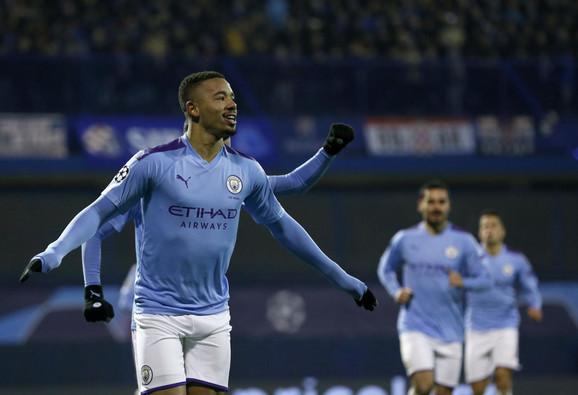 Žezus slavi jedan od tri gola na meču FK Dinamo Zagreb - Mančester siti