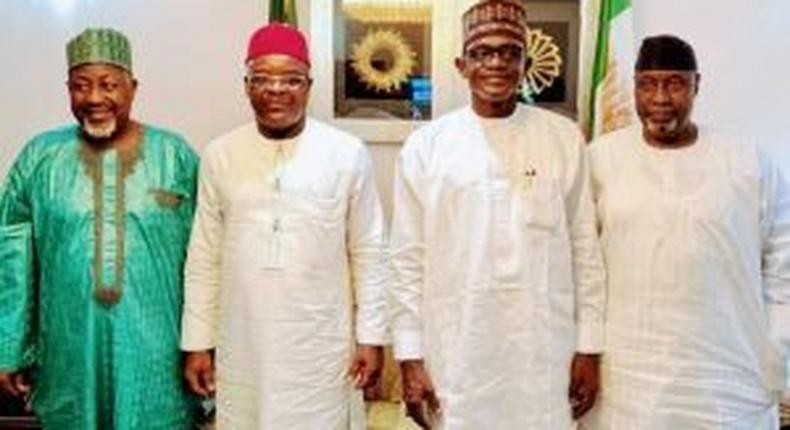 Left to Right Jigawa Governor, Abubakar Badaru, Lt.Gen. Ihejirika, APC Caretaker and Extra-ordinary Convention Planning Committee Chairman Gov. Mai Mala Buni and Hon. Farouk Adamu Aliyu on Friday in Abuja. [NAN]