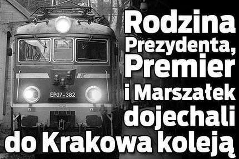Marta Kaczyńska i Tusk dojechali do Krakowa koleją
