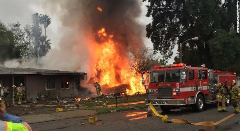Plane crash in Riverside, California