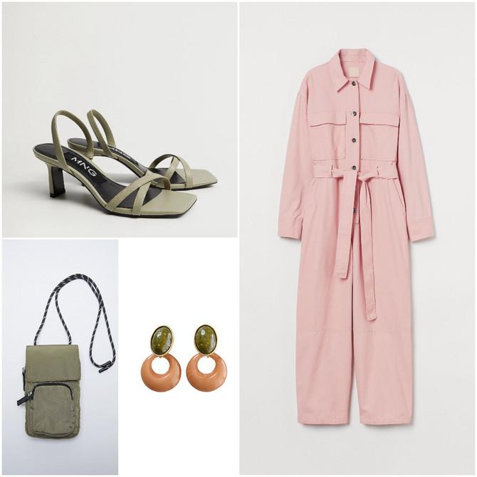 "Kombinezon ""H&M"", minđuše ""Tiffany"", torbica za mobilni ""Zara"", sandale ""Mango"""