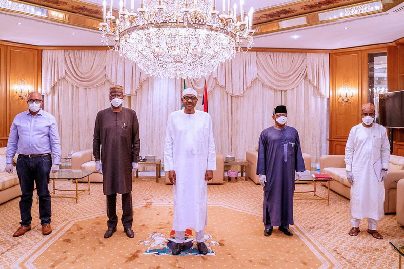The Presidential Task Force on Control of COVID-19 led by Boss Mustapha (2nd from left) and Ehanire (2nd from right) briefed President Buhari on Friday, April 10, 2020 (Twitter @Mbuhari)