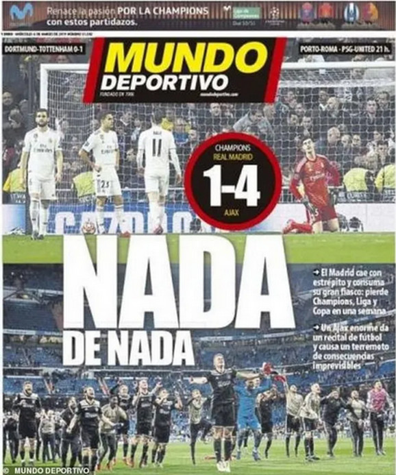 Mundo Deportivo donosi fotografije razočaranih