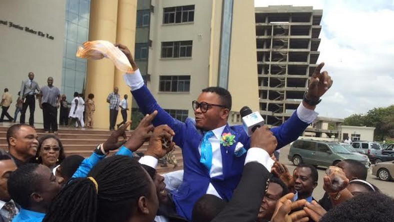 Obinim celebrating after he was acquitted and discharged