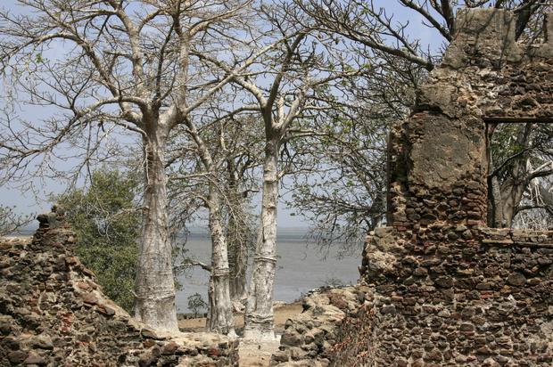 Gambia, ruiny fortu na wyspie Kunta Kinte