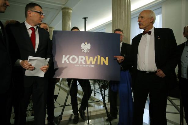 Janusz Korwin-Mikke i Przemysław Wipler PAP/Tomasz Gzell