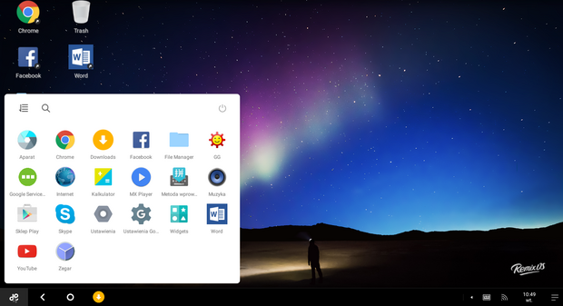 Pulpit Remix OS 2.0, fot. własne