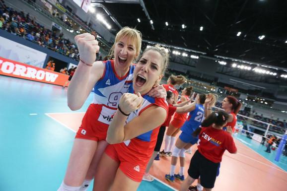 Slavlje naših odbojkašica posle osvajanja titule u Bakuu