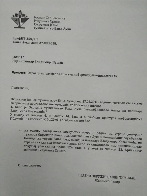 Odgovor tužilaštva o napadu na Vladimira Kovačevića