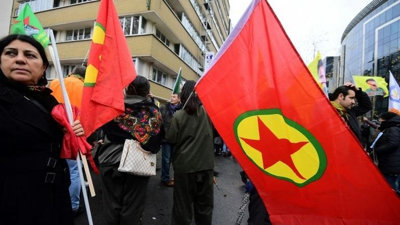 The Kurdistans Workers' Party (PKK) flag at a pro-Kurdish demonstration on November 17, 2016 in Brussels