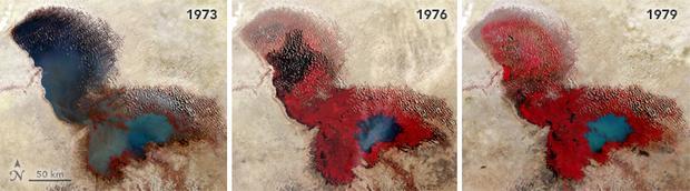 Zmiany powierzchni jeziora Czad na przestrzeni lat