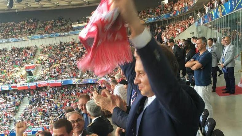 Andrzej Duda na meczu z Irlandią Północną