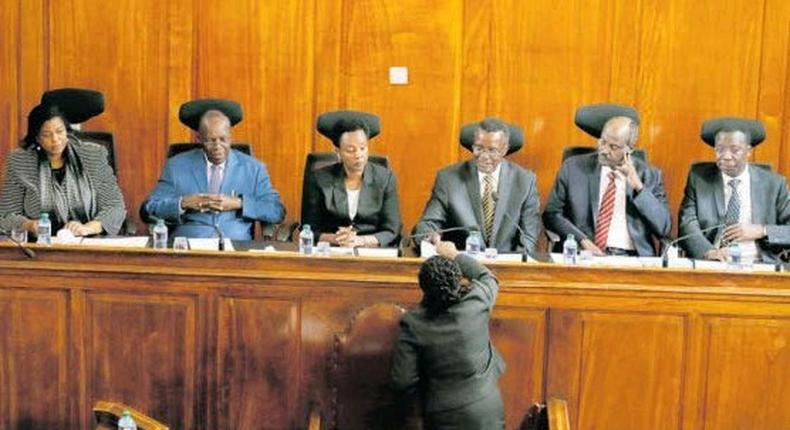 Supreme Court judges David Maraga, Mohammed Ibrahim, Jackton Ojwang, Smokin Wanjala and Njoki Ndung'u during a past hearing