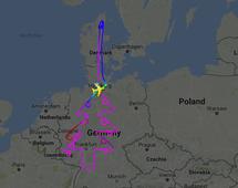 Zapis trasy testowego lotu Airbusa A380