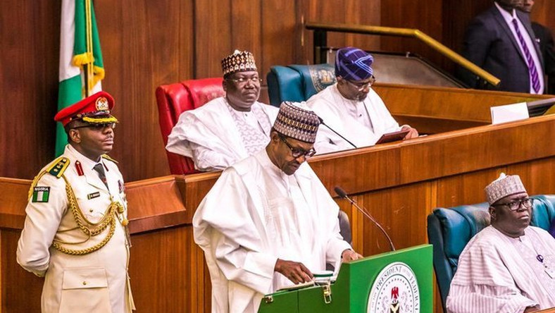 President Muhammadu Buhari presents the 2020 National Budget to a joint Session of the National Assembly. Oct 8 2019 (Twitter/NTA)