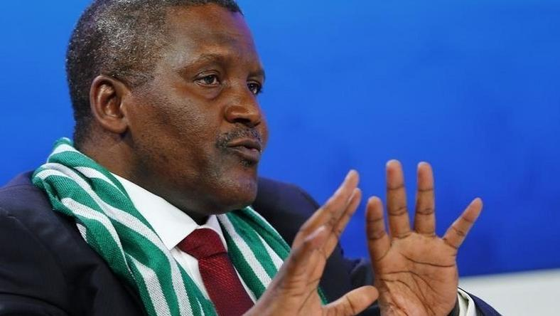 Aliko Dangote, President and Chief Executive Officer of Dangote Group and Co-Chair of the World Economic Forum (WEF) Annual Meeting 2014, speaks during a session at the WEF  in Davos January 22, 2014.  REUTERS/Denis Balibouse