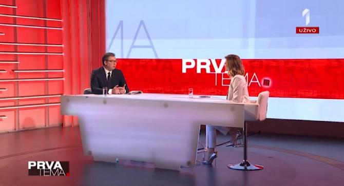 Jovana Joksimović sa predsednikom Republike Srbije Aleksandrom Vučićem u emisiji