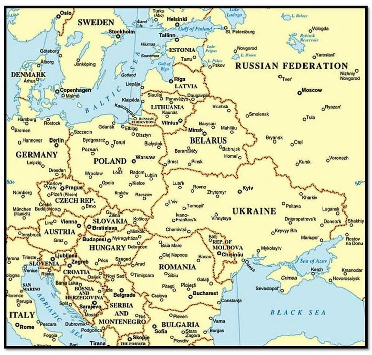 Mapa Evrope granice
