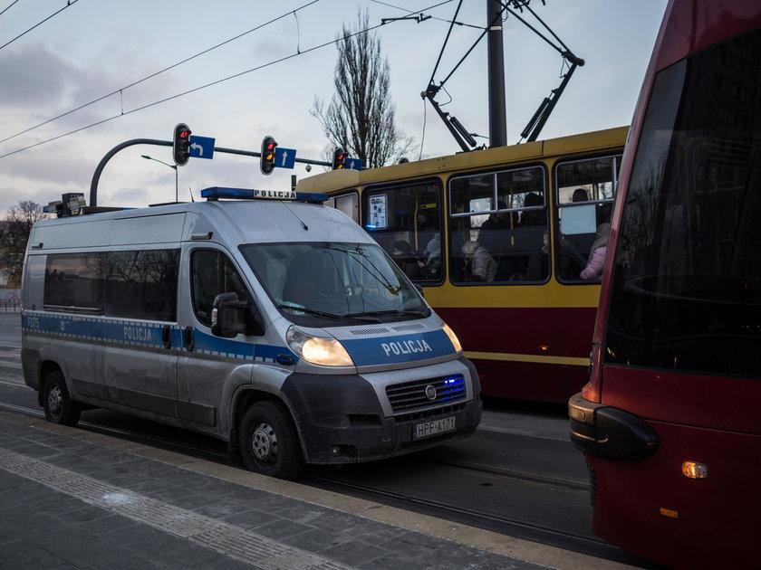 zderzenie tramwajów na Piłsudskiego w Łodzi