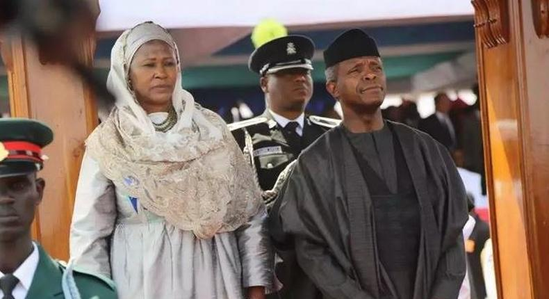 Acting President Yemi Osinbajo (R) with another African leader at the inauguration of Adama Barrow