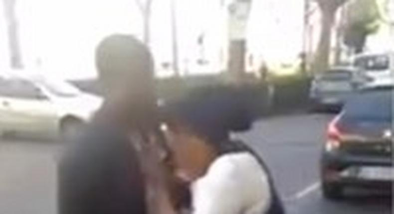 Nigerian woman is seen assaulting a man who owes her.